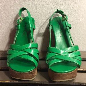 ❤️ Wild Diva Green Sandal Wedges Size 6.5